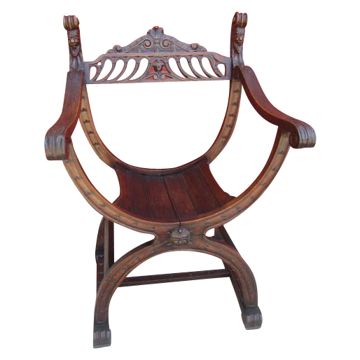 Antique Gothic Savonarola Chair Armchair Antique Furniture
