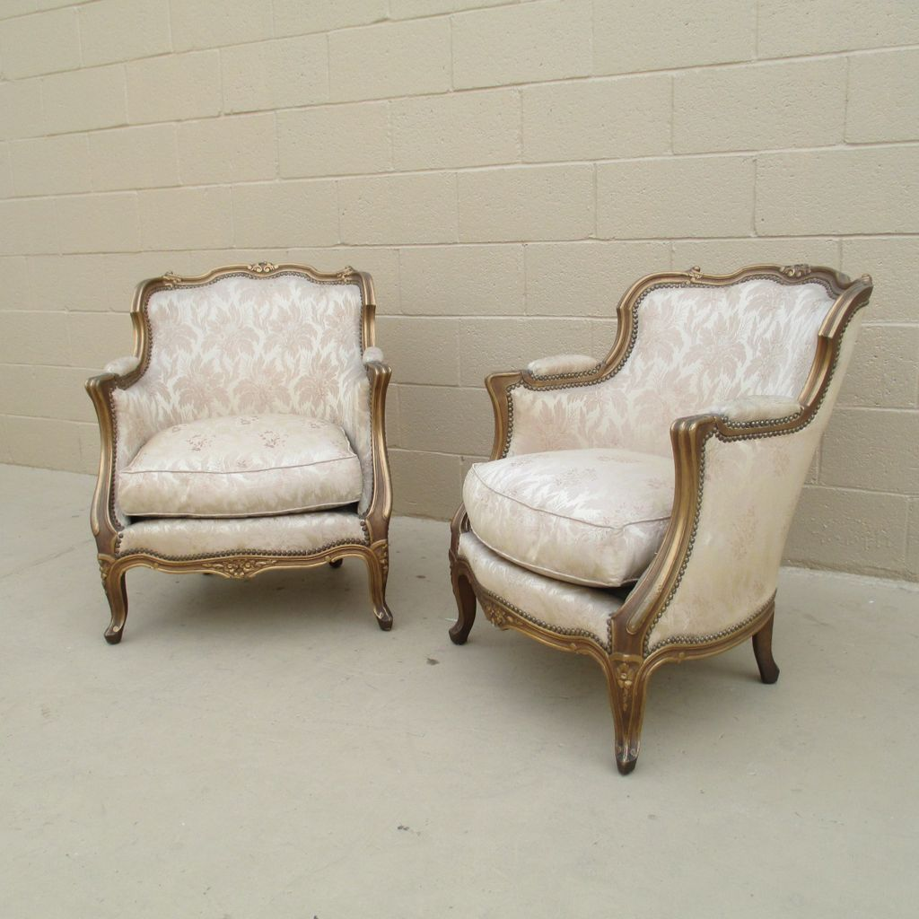 French Antique Pair of Bergere Arm Chairs Antique