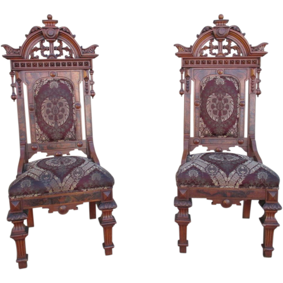 High back antique chairs - Antique Victorian Gothic High Back Hall Chairs Antique Furniture From