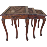 French antique carved stacking tables nesting tables for Table 52 oak brook