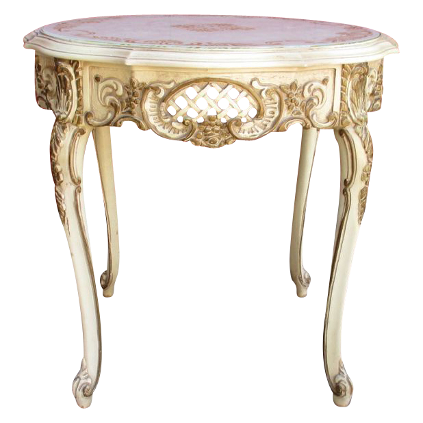 vintage french painted lamp table accent table from