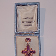 18k Gold and Paste Catholic Cross from Lourdes