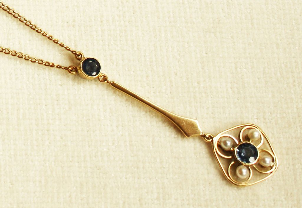 Antique, Gold Lavaliere Necklace set with Sapphires & Pearls