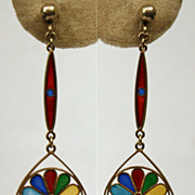 "RARE DESIGN!  C.1910 ""Plique a jour"" Multi colored enamel earrings"