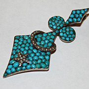 SOLD Turquoise and Pearl Pave Set Victorian Pendant