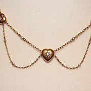 Victorian, diamond heart and pearl necklace
