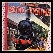 SALE 1940's My Picture Book of Trains - nursery picture book in color - from England