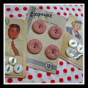 SOLD 3 vintage cards Buttons - Bonnie Heather, Mytifine Pearls & pink floral - Red Tag Sale It