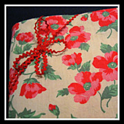 SALE Vintage Feedsack FABRIC 'fat eighth' - Gorgeous POPPIES
