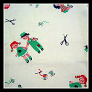 Vintage 20s - 30s Cotton novelty Fabric 1 Yard - Raggedy dolls, sewing