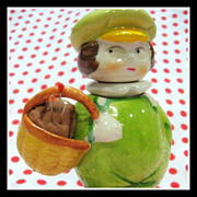 Little Dutch Boy ceramic Needle case, Sewing caddy & Pincushion