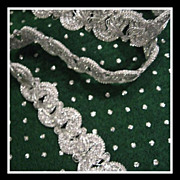 Vintage 3/4 inch metallic Silver lace trim Edging - 3 yards