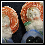 SOLD Adorable 1940's Goebel Salt & Pepper Shaker Set - Flower Girls - Rose