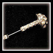 Glitzy vintage Stick Pin - Mushroom shape with Rhinestones