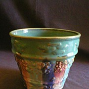 "Hull Pottery ""Early Art"" Jardiniere w/Embossed Design in Blended Glaze"