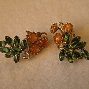 Schreiner Honey Cabochon & Emerald Rhinestone Clip Earrings