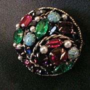 Schreiner Crown-Like Domed Brooch w/Multi-Colored Rhinestones, Faux Turquoise & Pearls