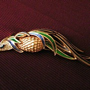 "Trifari ""Bird of Paradise"" Enamel & Rhinestone Brooch"