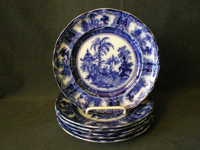 "Set of 6 - W. Adams Co. Flow Blue ""Kyber"" Pattern Luncheon Plates"