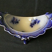 "Wheeling Pottery Flow Blue ""LaBelle"" Footed Bowl"