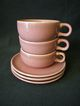 "Set of 3 - Russell Wright ""American Modern"" Pattern ""Coral"" Cups and Saucers"