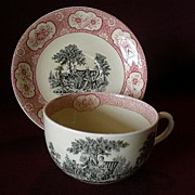 "Wm Adams & Sons ""Rose Terrace"" Transfer Pattern Mush/Large Cup & Saucer"