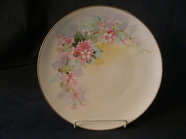 Julius H. Brauer Studio Hand Painted Cabinet Plate w/Apple Blossom Decoration