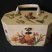 Annie Laurie Original Palm Beach Designer Purse w/Puffy Butterflies & Flowers Decoration