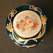 Hand Decorated Royal Blue Glass Hinged Vanity Box w/Three Cherubs or Putti Figures