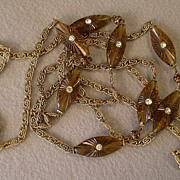 """Hattie Carnegie"" Gold-Tone Chain, Lucite & Rhinestone Necklace"