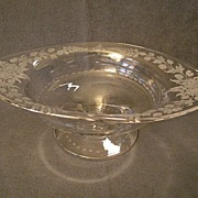 """Hawkes"" Copper-Wheel Engraved ""Garland of Roses"" Design Crystal Compote"