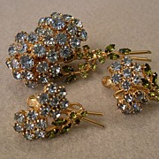 Coro Vendome Gold-Tone & Rhinestone Floral Designed Brooch & Earrings