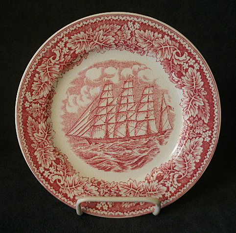 Set of 4 Homer Laughlin &quot;Americana Series - Clipper Ship, Great Republic&quot; Salad/Dessert Plates