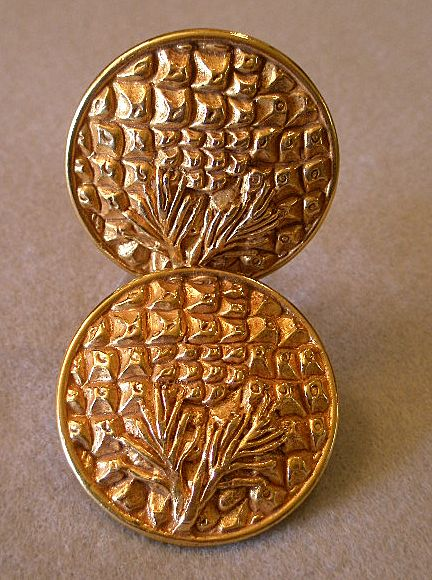 &quot;Dominique Aurientis&quot; Embossed Gold-Tone Clip Earrings