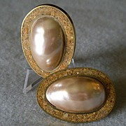 """Celia Sebiri"" Vintage Faux Baroque Pearl w/Inlaid Border Clip Earrings"