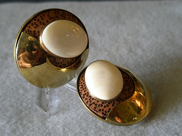 """Celia Sebiri"" Vintage Brass, Faux Coconut Shell & Ivory/Bone Clip Earrings"