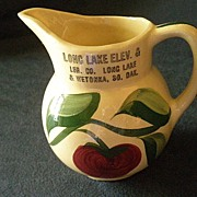 "Watt Pottery ""#62 Apple - 3 Leaf"" Pattern Pitcher w/Long Lake & Wetokka S.D. Adverti"
