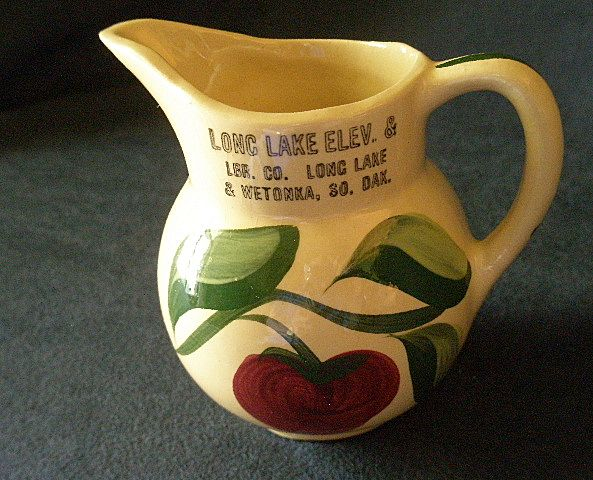 Watt Pottery &quot;#62 Apple - 3 Leaf&quot; Pattern Pitcher w/Long Lake & Wetokka S.D. Advertising