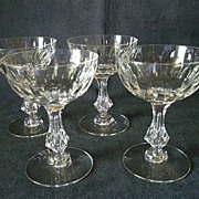 "Set of 4 Tiffin Glass Co. ""Fordham"" Pattern Champagne/Tall Sherbets - Stem #17594"