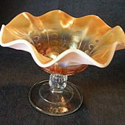 "Dugan/Diamond ""Peach  Opalescent Coin Spot"" Carnival Glass Compote"