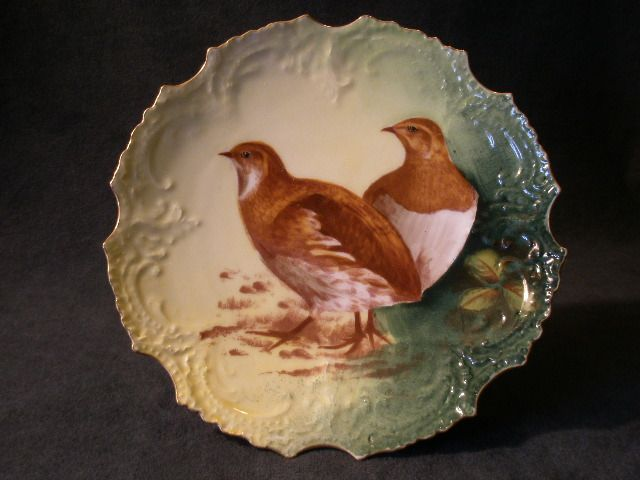 French L.R.L. Limoges Hand-Painted Game Plate w/Two Birds