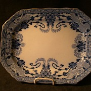 "Burgess & Leigh Flow Blue ""Raleigh"" Pattern Oval Platter"
