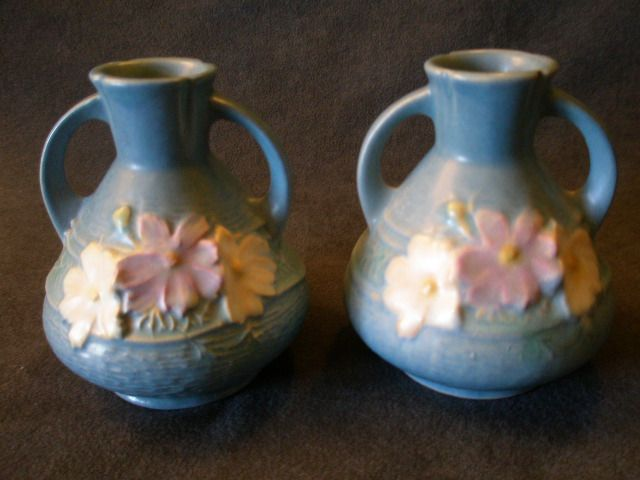 Roseville Pottery &quot;Cosmos&quot; Vase in Blue #944-4