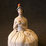 "German Half-Doll ""1920's Flapper"" Attached to Pincushion"