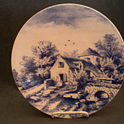 Blue & White Delft-Type Charger w/Rural Country Scene