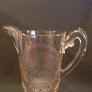 "Early American Pressed Glass Clear ""Psyche & Cupid"" Pattern Water Pitcher"