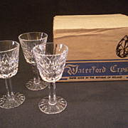 "Set of 3 Waterford Crystal ""Lismore"" Pattern Small Liqueur/Cordial Stems"