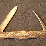 American Coin Silver Fruit Knife w/Embossed Geometric Design