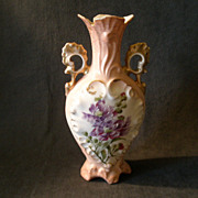 Victoria Carlsbad Austria Hand Paint Vase w/Floral Decoration