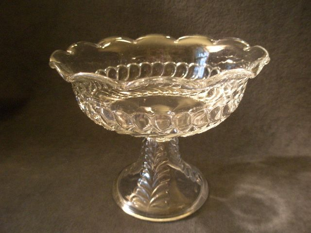 Early American Pressed Glass &quot;Plume&quot; Pattern Compote w/Scalloped Rim